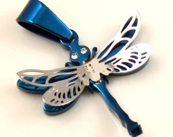 Cute Little Blue Dragonfly Stainless Steel Pendant