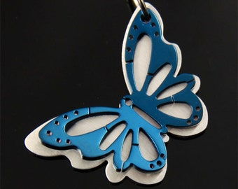 2 Layers Butterfly Stainless Steel Pendant
