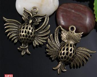 3pcs Antique Bronze 3D Dancing Owl Charm