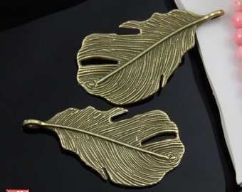 6pcs Bronze Feather Charm