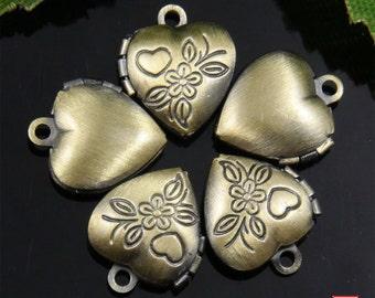 6pcs Tiny Bronze Heart Locket Charm