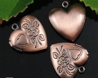 4pcs Copper Tone Floral Heart Locket