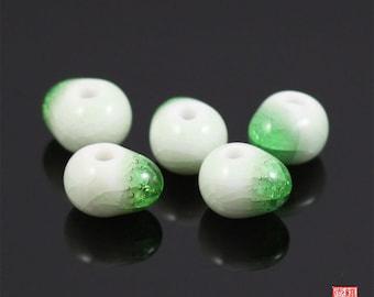 10pcs Unique Green Water Drop Porcelain Bead-WD002
