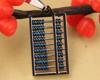Size Small--Cute Blue Abacus Stainless Steel Pendant
