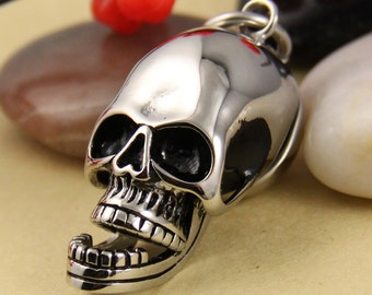 Skull With Movable Jaw Stainless Steel Pendant