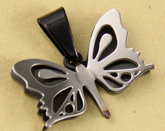 Small Silver and Black Butterfly Stainless Steel Pendant