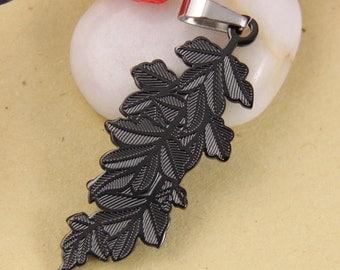 Black Leafy Leaf Stainless Steel Pendant