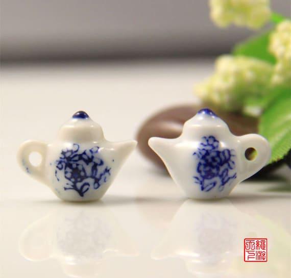 4pcs Mini Teapot Porcelain Charm