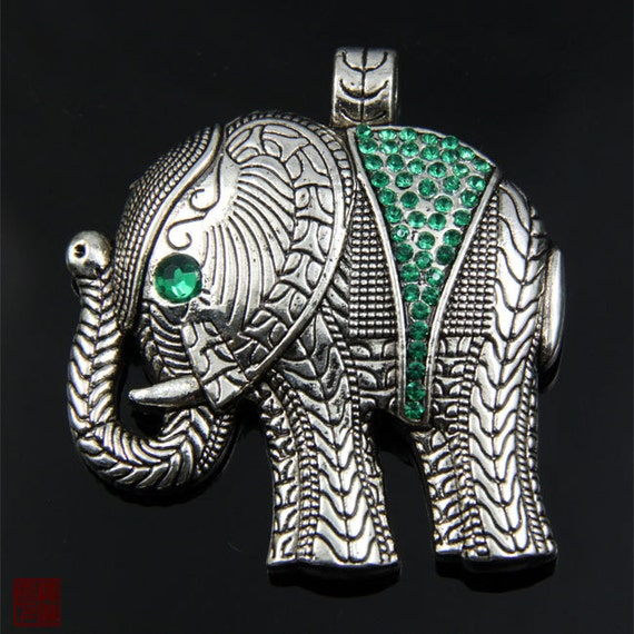 Large Silver Elephant Pendant Charm