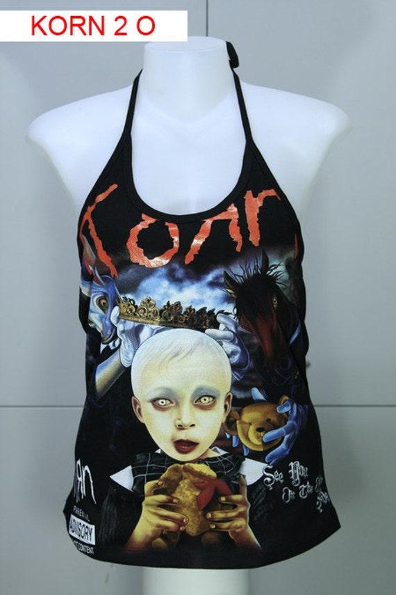 KORN DIY Rock Shirt Metal Punk Halter Top Women New Size M