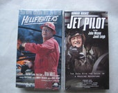 Vintage John Wayne VHS Tapes Jet Pilot and Hellfighters- New