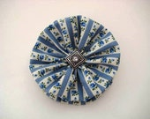 Country Blue Hair Bow created with a Blue and White Floral and Stripe Print with a Clear Rhinestone Button Center