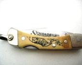 Vintage Schrade Pocket Knife - Scrimshawed Handle Lockback Key Chain - USA Made