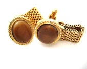 Vintage Gold Cuff Links - Wrap Around Style with Golden Brown Cabachon