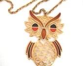 Vintage Owl Pendant Necklace - Retro - Moving Parts