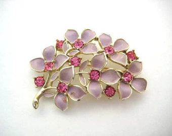 Vintage Pink Floral Sarah Coventry Brooch - Enamel and Rhinestone