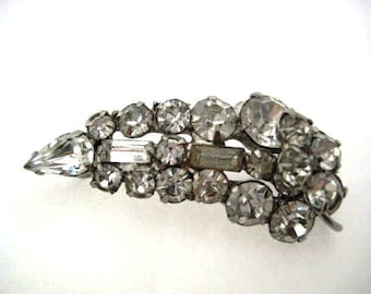 Vintage Rhinestone Brooch - Crystal and Silver Art Deco