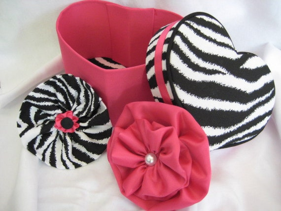 Zebra/Hot Pink Hair Bows with Matching Fabric Covered Heart Jewelry Box READY to SHIP