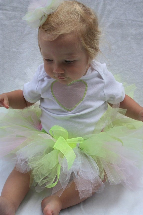 Fairy Princess Tutu Pink and Lime Green - Made to Order