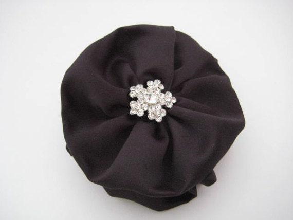 Black Hair Bow with Crystal Rhinestone Accents - Wedding Accessory