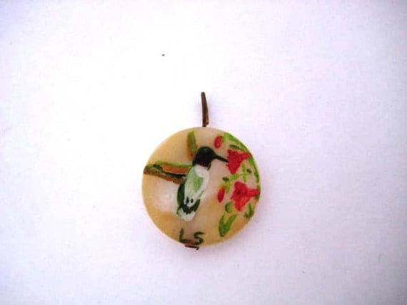 Vintage Pendant - Hand Painted Humming Bird and Red Flowers