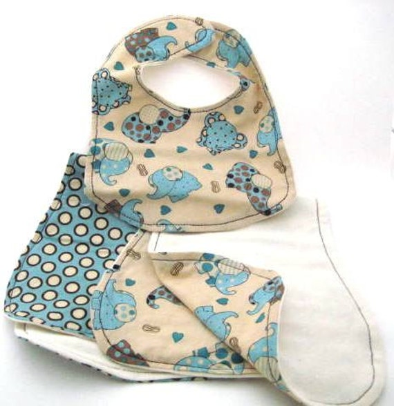 Burp Cloths & Matching Bib, Blue Elephants and Polka Dots- 3pc. gift set