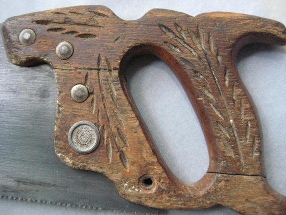 Vintage Disston Hand Saw - Circa 1930 - Carved Wood Handle Good Rustic Condition