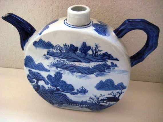 Vintage Blue Porcelain Tea Pot - Large Statement Deco Piece