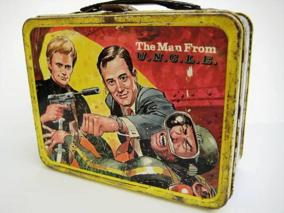Vintage Metal Lunchbox 1966  -Thermos Man From UNCLE Lunchbox - Rare