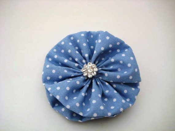 Blue Polka Dot Hair Bow created with a Sky Blue and White Polka Dot Print and a Clear Rhinestone Button Center