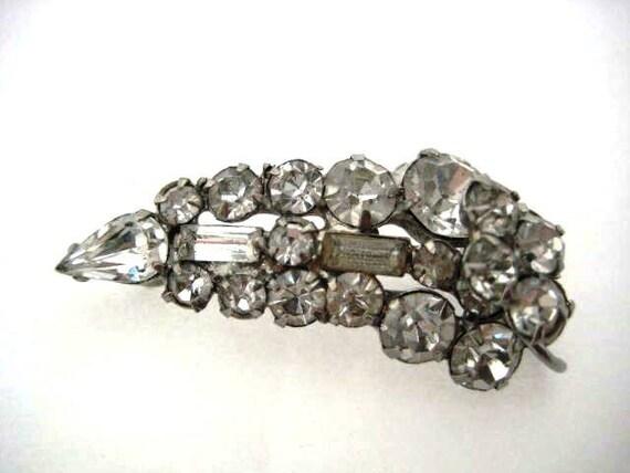 Vintage Rhinestone Brooch - Crystal and Silver Art Deco