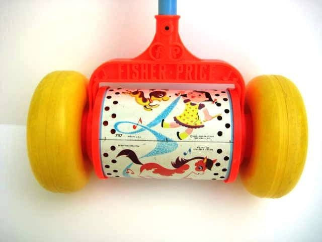 Vintage Fisher Price Chime Toy Push Toy
