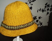 Crochet cloche style hippie boho bohemian mustard yellow spring  hat with olive green and brown