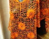 Crochet lace autumn tones multicolour poncho with orange flower