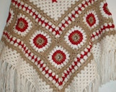 Vintage hippie style crochet ivory beige red poncho wrap shawl with fringe