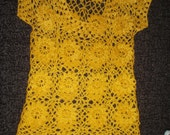 Crochet lace sunny yellow dress tunic with flowers spring summer fashion - krittenart