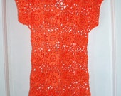 Crochet lace flowers sunny orange tangerine dress tunic spring summer fashion Ready to ship