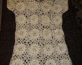 Crochet lace flowers ivory natural white dress tunic Ready to ship