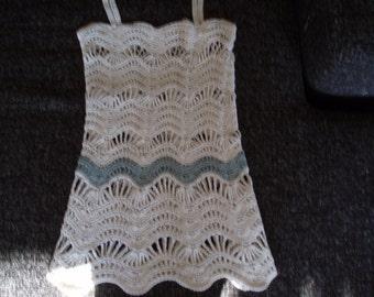 SALE Crochet ivory girls beach boho summer top shirt