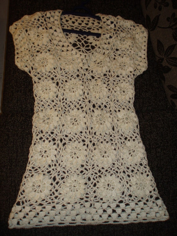 April SALE Crochet lace flowers ivory natural white dress tunic spring summer fashion