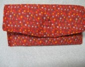 "Sun or Eye Glass Case Red Floral 4""x7""  Colored Print Padded Fabric Case w/velcro Closure"