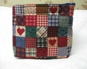 Cosmetic Cotton Pouch Travel Bag Strapless Velcro Top Primative Country Print