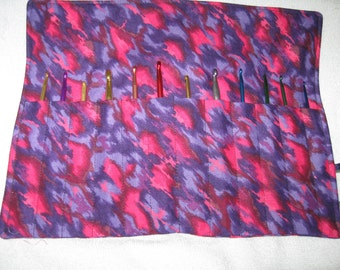 Crochet Hook Case Organizer/Holder  Holds 12 Needles -Vibrant Pinks Purple & Black Light Weight  Keeps all your needles together