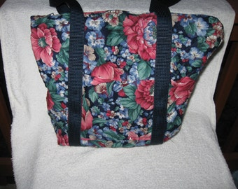 Handmade Quilted Large Blue Floral Purse Tote-3 Pockets on inside and 1 outside