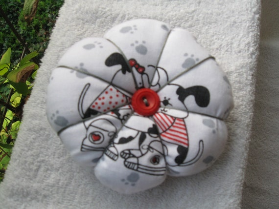 "Pin Cushion hand made Puppy Dog Print 3-1/2"" wide"