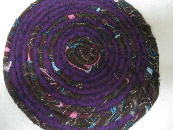 Pot Holder Purple Browns with Teal and Pink Floral Fabric Trivit  or Trivit Fabric Pot Holder Shabby Chic Potholder