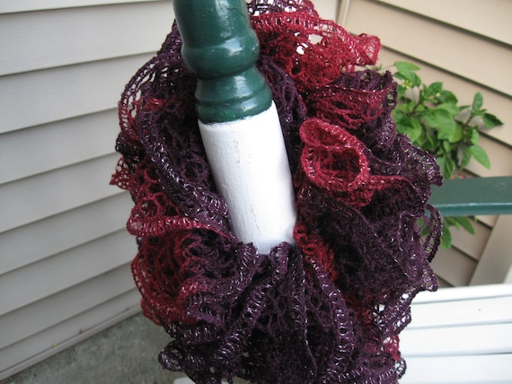 Ruffled Deep Maroon & Purple with a Silver Accent Lace Yarn Hand Knitted Soft Acrylic Scarf 59 inches long