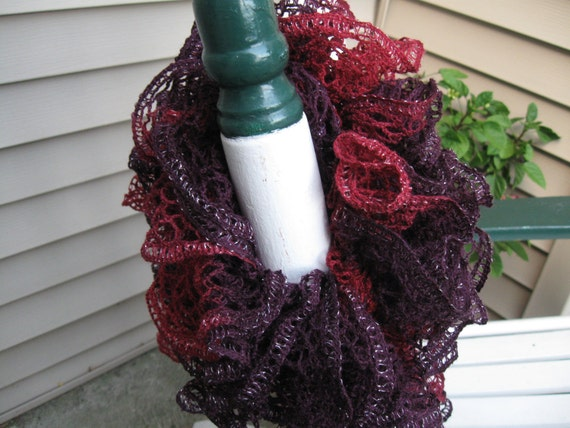 Scarf Ruffled Deep Maroon & Purple with a Silver Accent Lace Yarn Hand Knitted Soft Acrylic Scarf 59 inches long
