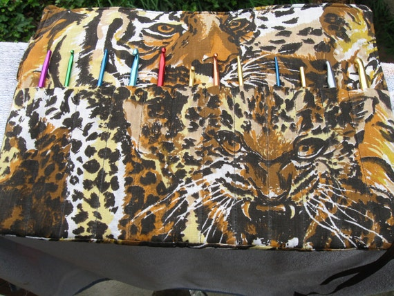 Crochet Hook Case Organizer Holder Holds 12 Needles Cheetah Leopard Print  Keeps all your needles together