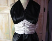 "Black and white formal ""toga"" style halter dress"